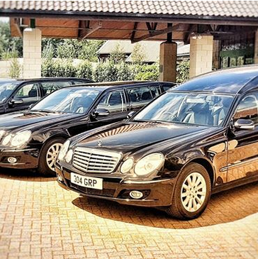 Hearse and limousines at Risby